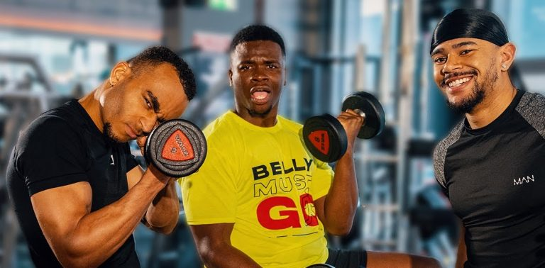 Wes Nelson and Munya Chawawa work out with Michael Dapaah for Belly Must Go
